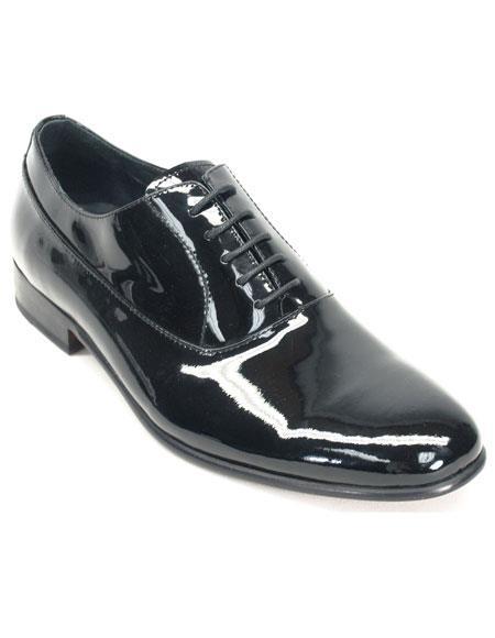 Mens Black Genuine Patent leather oxford Tuxedo Formal Dress Shoe