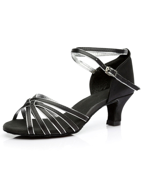 Milanoo Zapatos baile latino Satin Criss Cross Zapatos de salon para mujeres