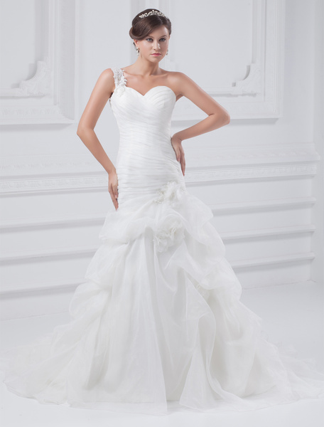 Milanoo Grace White One-Shoulder Pleated Organza Wedding Dress For Bride