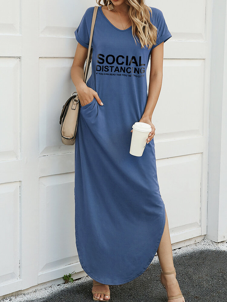 Splited Letter Print Short Sleeve Casual Maxi Dress For Women
