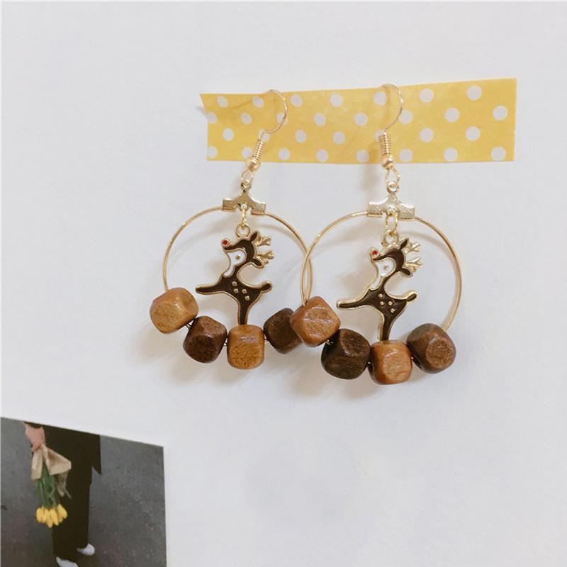 Christmas Fawn Stone Tassel Easy Matching Earrings