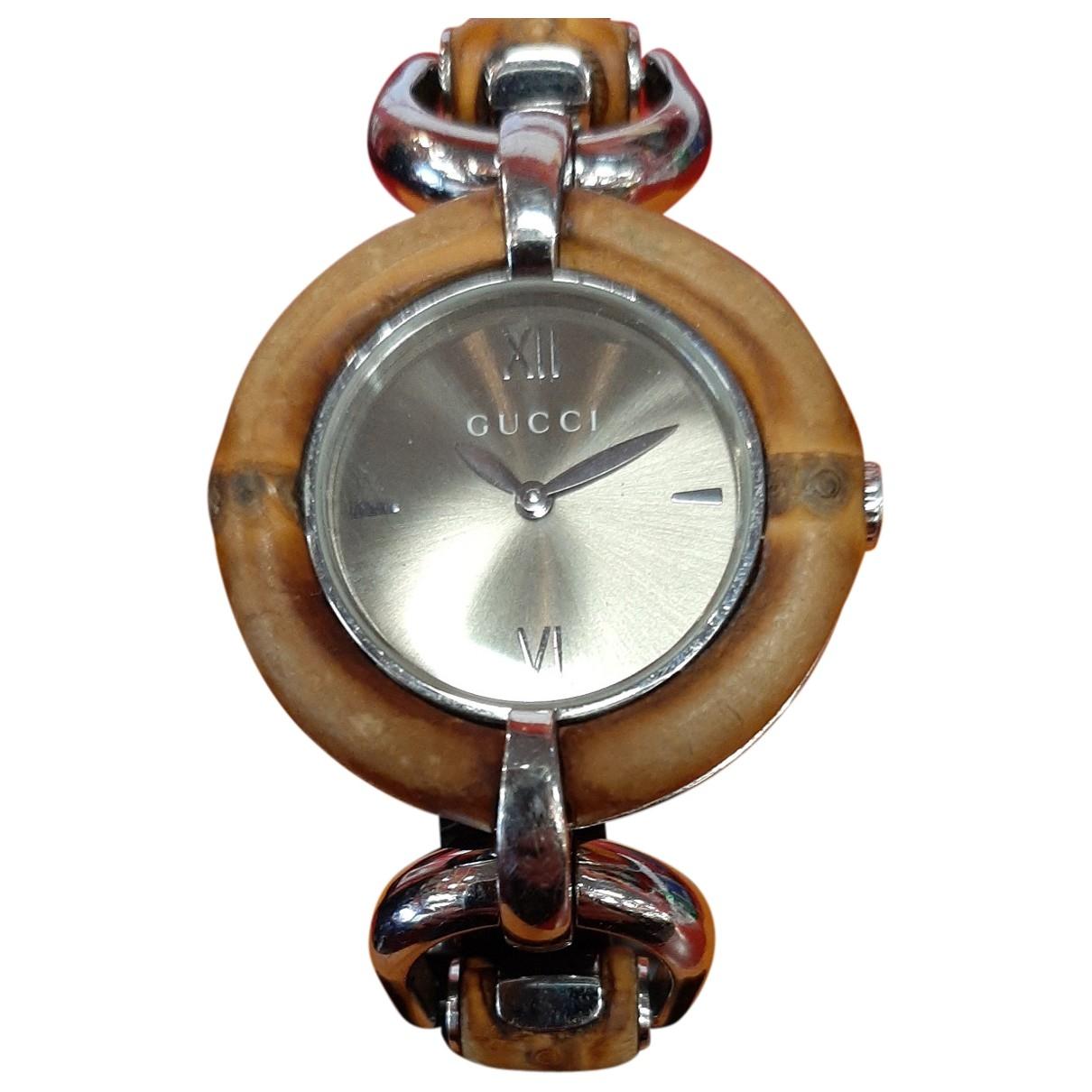 Gucci Bamboo Uhr in  Braun Stahl