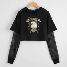 2 in 1 Sweatshirt mit Schaedel & Buchstaben Grafik und Kordelzug