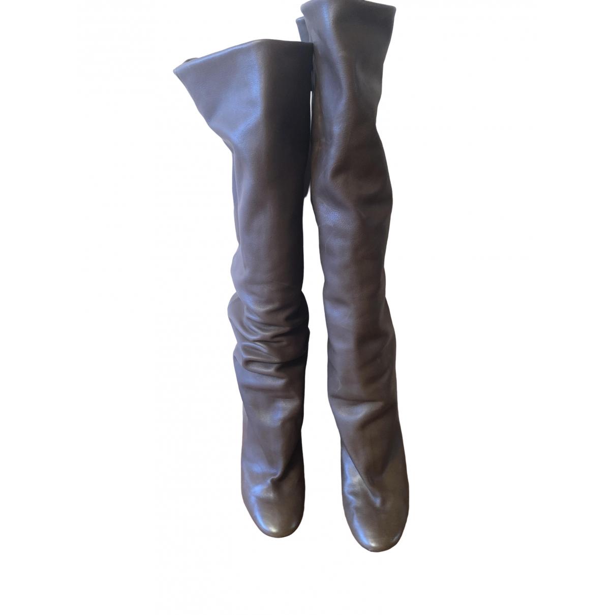 Isabel Marant Lakfee Stiefel in  Khaki Leder