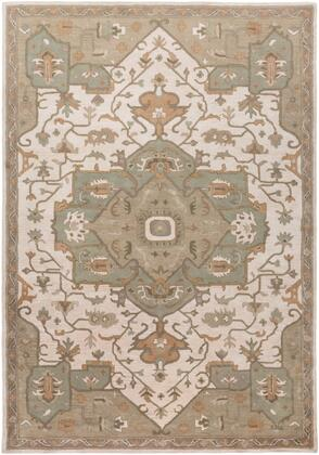 Caesar CAE-1143 8' x 11' Rectangle Traditional Rug in Khaki  Medium Grey  Light Grey  Camel  Sage  Dark