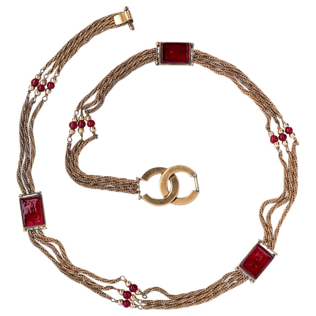 Chanel N Gold Metal belt for Women 70 cm