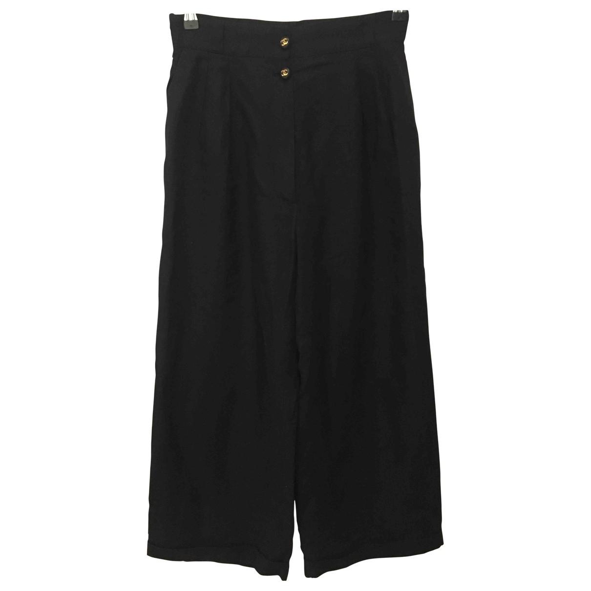 Chanel \N Black Linen Trousers for Women One Size FR