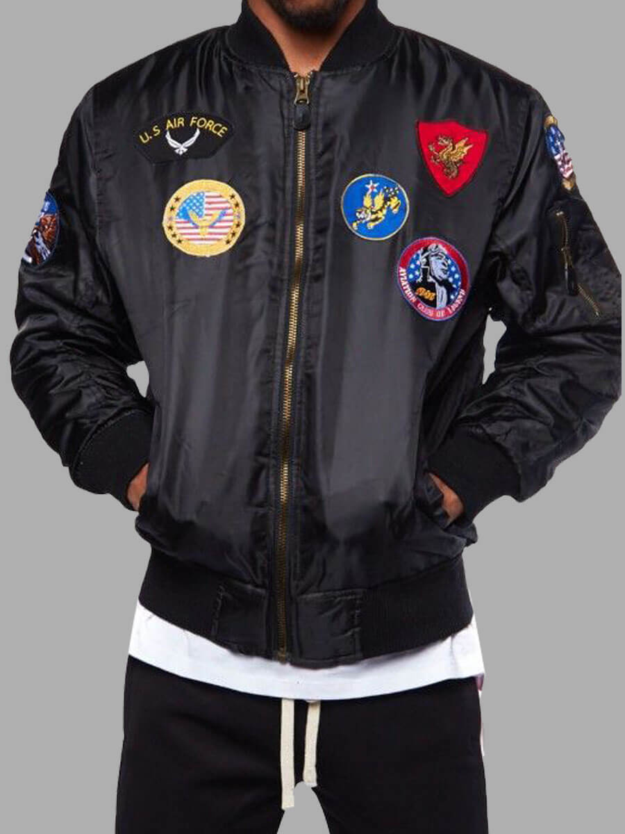 LW Lovely Street American Flag Print Patchwork Black Men Jacket