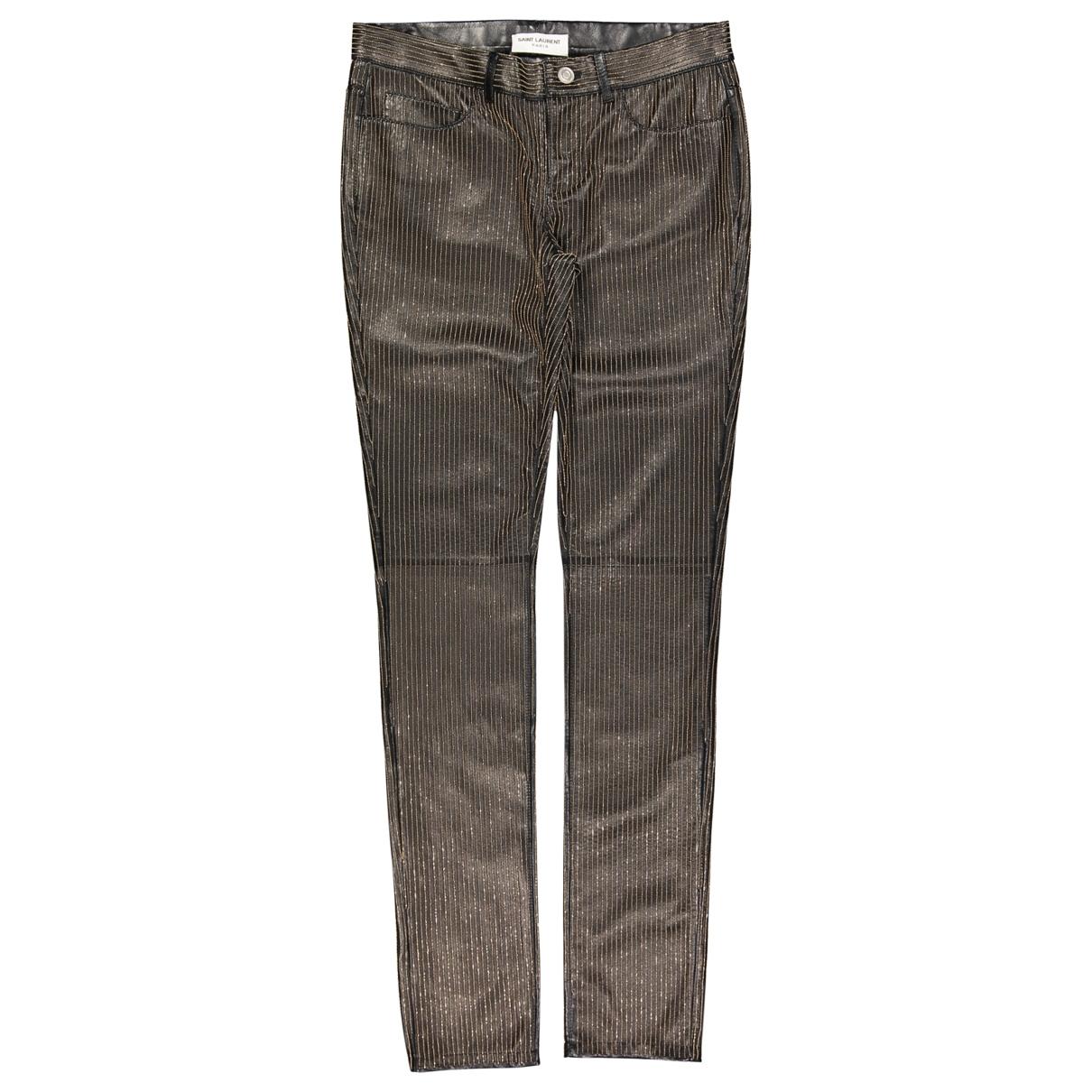 Saint Laurent - Pantalon   pour femme en cuir - noir