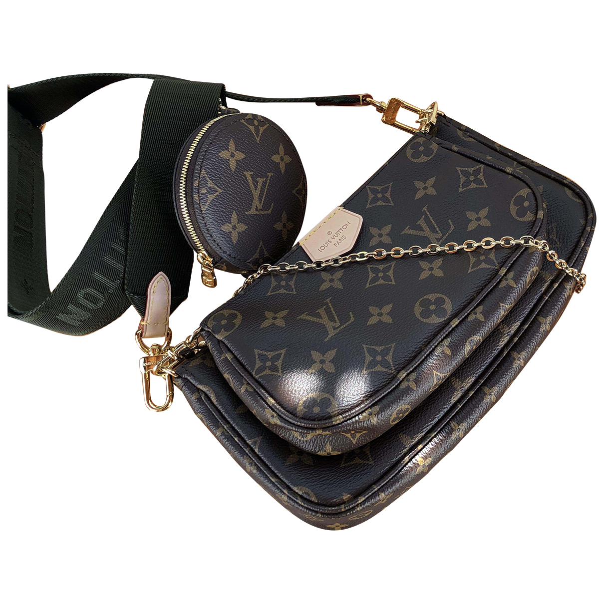 Louis Vuitton Multi Pochette Access Clutch in  Braun Leinen