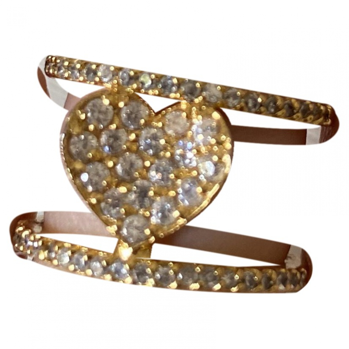 Non Signe / Unsigned Motifs Coeurs Ring in  Gold Metall
