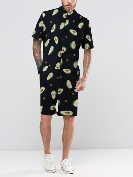 Yoins Men Summer Avocado Fruit Print Rompers Short Sleeve Beach Jumpsuit