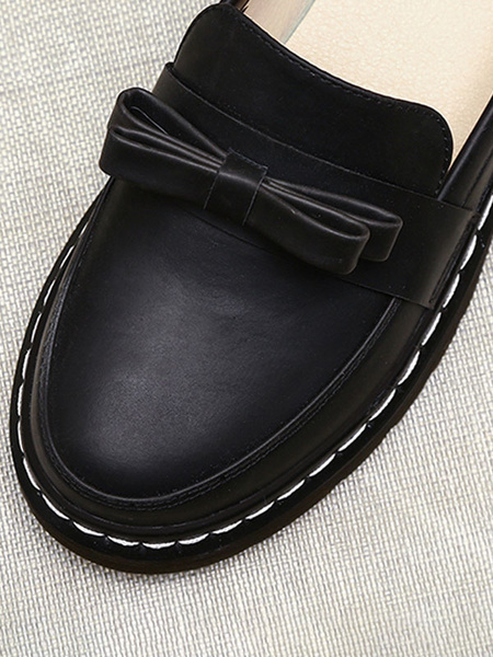 Milanoo Lolita Shoes Bows Round Toe PU Leather Lolita Pumps