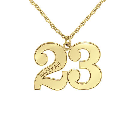 Personalized Womens 10K Gold Pendant Necklace, One Size , No Color Family