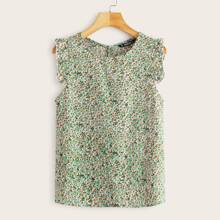 Ruffle Armhole Ditsy Floral Top