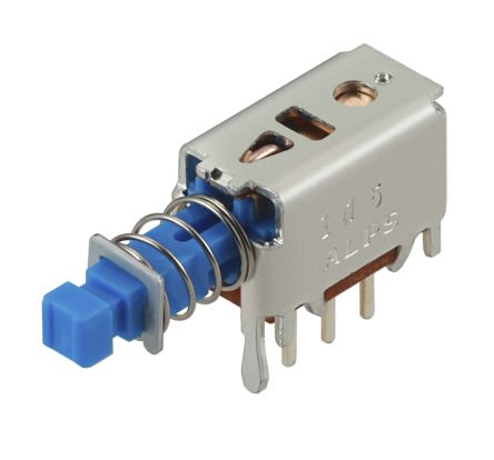 Alps Alpine Double Pole Double Throw (DPDT) Momentary Push Button Switch, PCB, 30V dc (5)