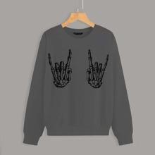Skeleton Hand Print Drop Shoulder Sweatshirt