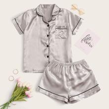 Satin Schlafanzug Set mit Kontrast Paspel Saum