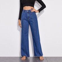 Jeans mit ungesaeumtem Saum und breitem Beinschnitt