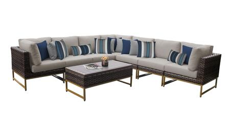 Barcelona BARCELONA-08a-GLD 8-Piece Patio Set 08a with 3 Corner Chairs  4 Armless Chairs and 1 Coffee Table - 1 Beige Cover with Gold