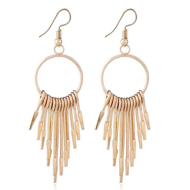 Fashion Ear Drop Earrings Hollow Circular Geometric Tassels Symmetrical Easrings Jewelry for Women