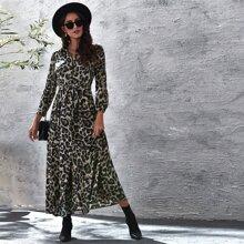 Vestidos Boton Leopardo Elegante