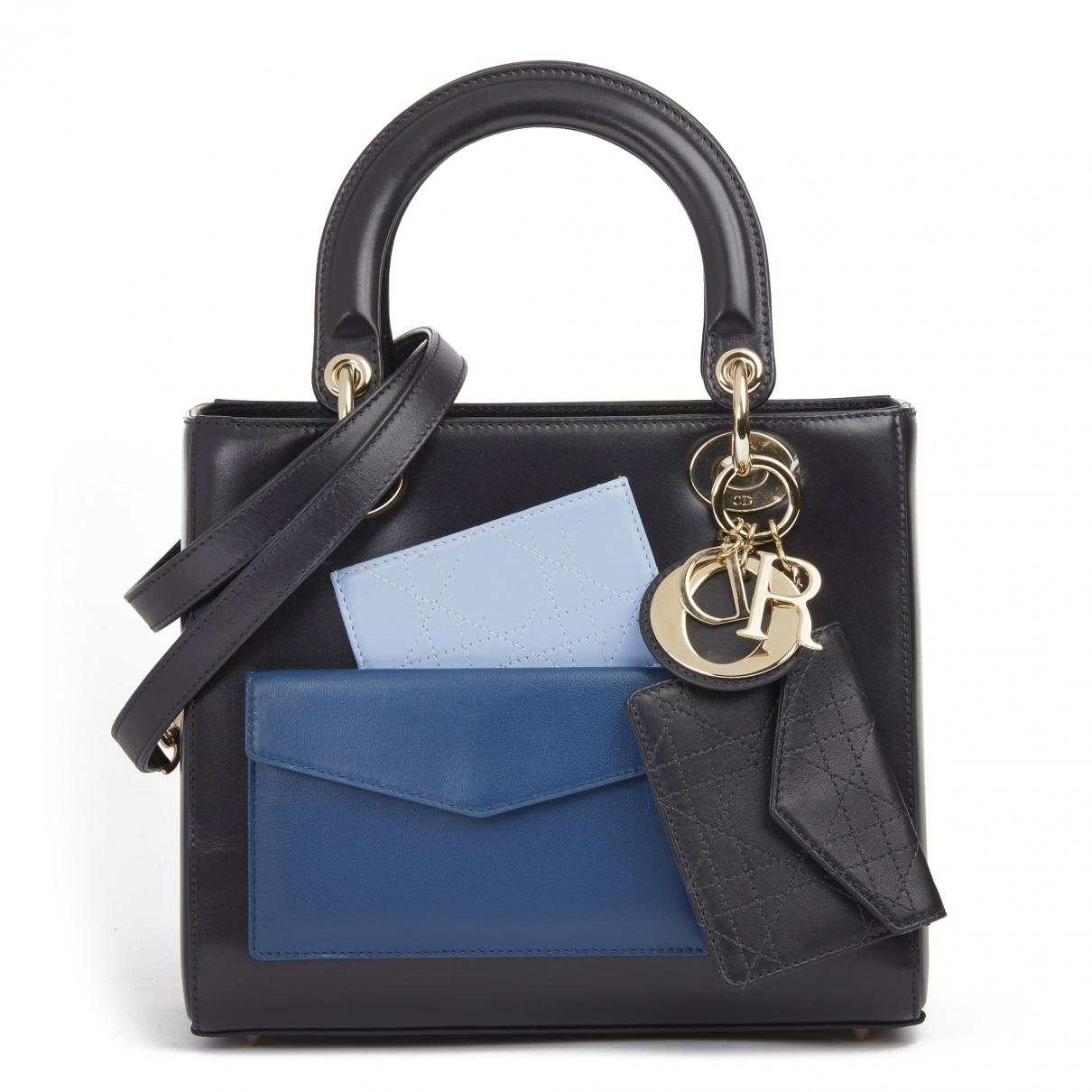 Dior - Sac a main Lady Dior pour femme en cuir - marine