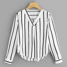 Plus Striped V-Neck Blouse