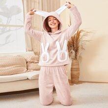 Flanell Schlafanzug Set mit 3D Ohr Flicken