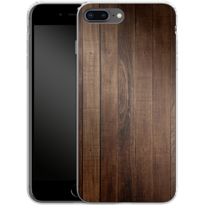 Apple iPhone 8 Plus Silikon Handyhuelle - Dark Wood Floor von caseable Designs