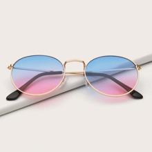 Sonnenbrille mit Metall Rahmen und Farbverlauf Linsen