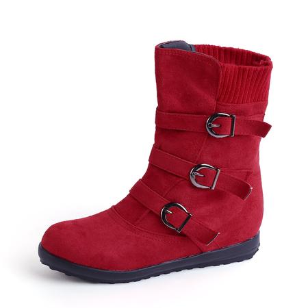 Yoins Red Buckle Design Zip Detail Short Boots