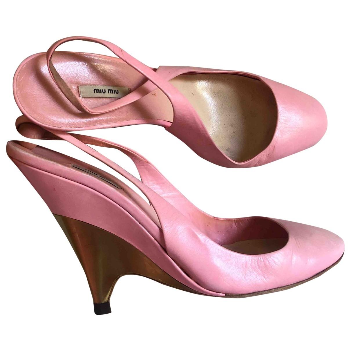 Miu Miu - Escarpins   pour femme en cuir - rose