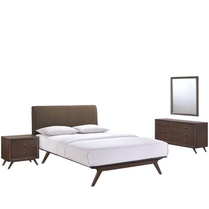 Tracy Collection MOD-5264-CAP-BRN-SET 4 PC Bedroom Set with Queen Size Platform Bed + Dresser + Mirror + Nightstand in Cappuccino Brown