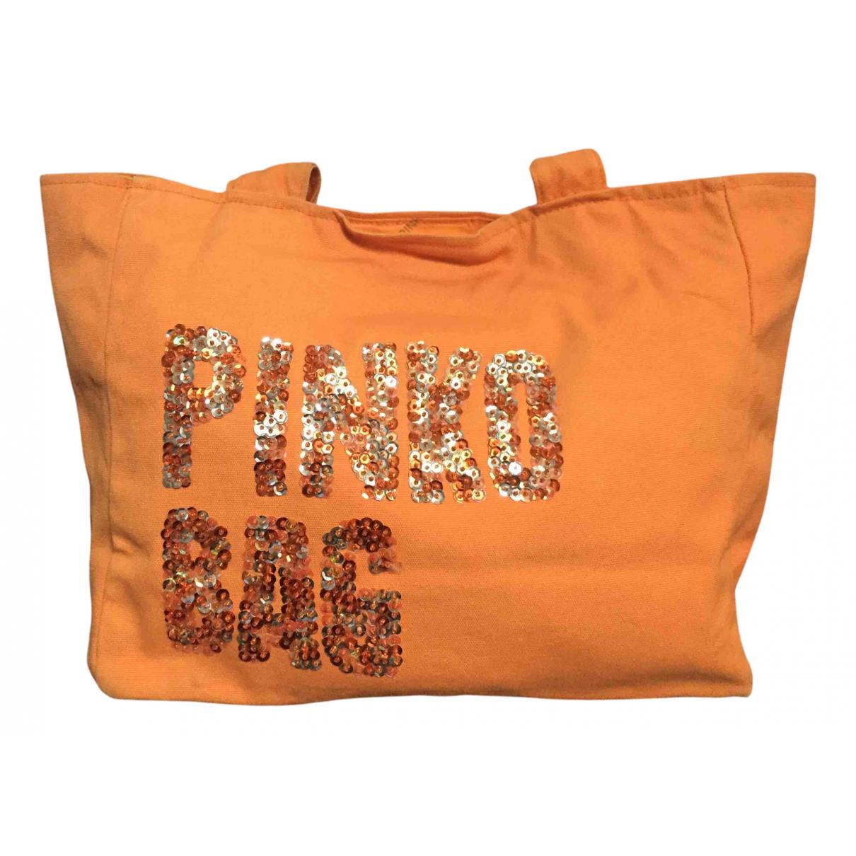 Pinko - Sac a main   pour femme en coton - orange