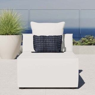Saybrook Outdoor Patio Upholstered Sectional Sofa Armless Chair (White)