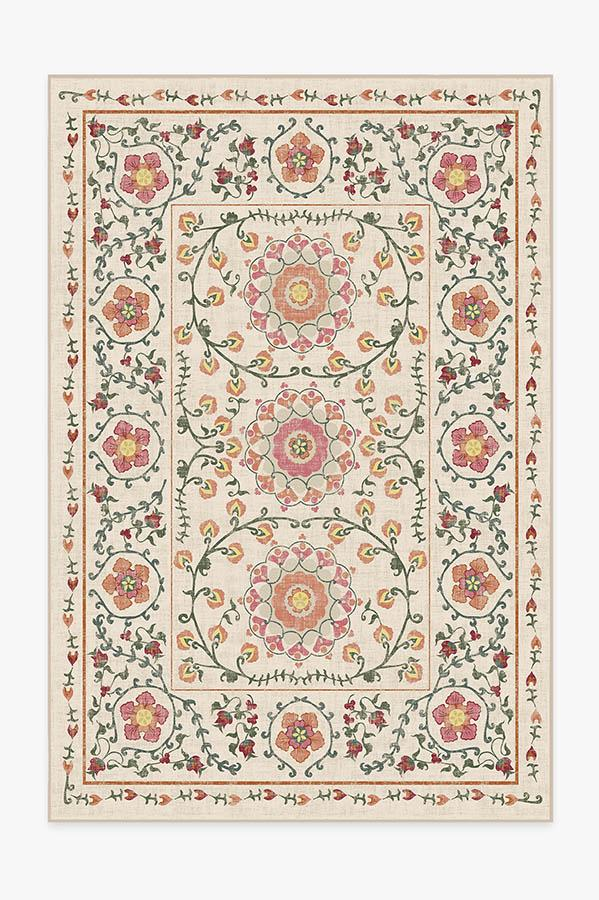 Washable Rug Cover & Pad | Suzani Coral Rug | Stain-Resistant | Ruggable | 6'x9'
