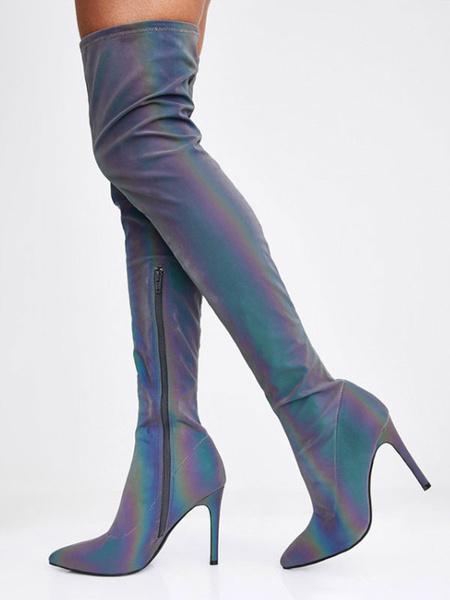 Milanoo Botas por encima de la rodilla Tacones altos de punta azul Botas de invierno de tacon de aguja para mujer