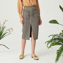Falda midi de cuadros con bolsillo tweed