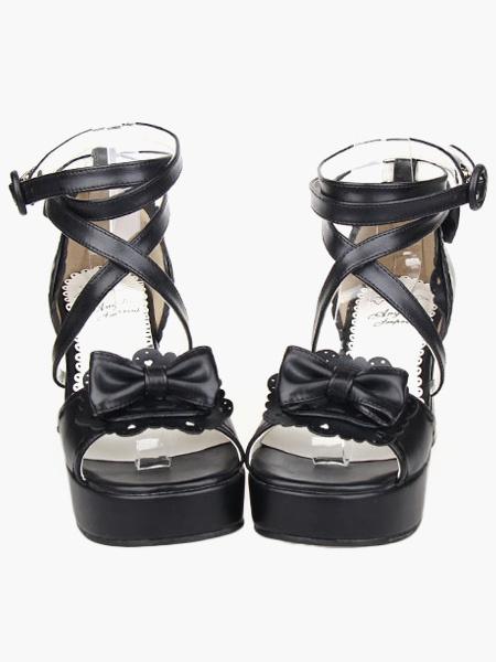 Milanoo Black Lolita Sandals Chunky Heels Platform Ankle Straps Bow