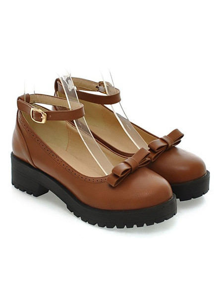 Milanoo Lolita Shoes Burgundy Bows Round Toe PU Leather Ankle Strap Lolita Pump Shoes