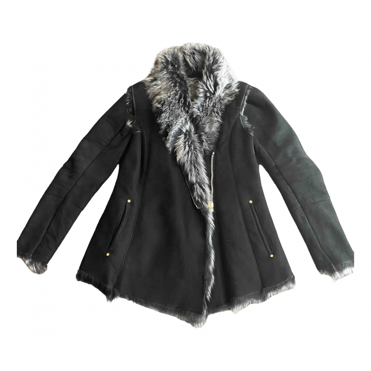 Non Signé / Unsigned \N Black Shearling Leather jacket for Women L International