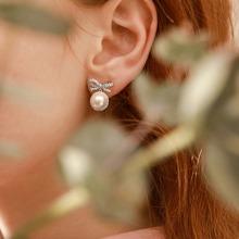 1pair Rhinestone Decor Bow & Faux Pearl Decor Drop Earrings