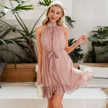 Pink Mit Guertel  Einfarbig Romantisch Kleider