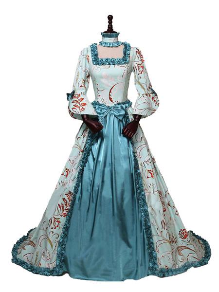 Milanoo Disfraz Halloween Disfraces retro para mujer con estampado floral, volante, estilo rococo, conjunto Marie Antoinette, disfraz, ropa vintage Ca