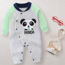 Baby Boy Panda And Letter Graphic Jumpsuit