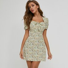 Square Neck Tie Front Ditsy Floral Dress