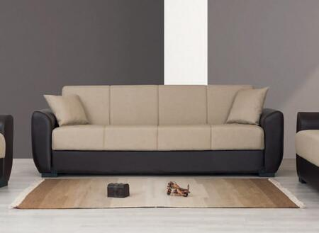 JERSEY SOFA 88 Fabric/PU Sofa Bed with Hidden Storage  Flared Arms and Block Feet in Beige and