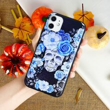Skull & Floral Pattern iPhone Case