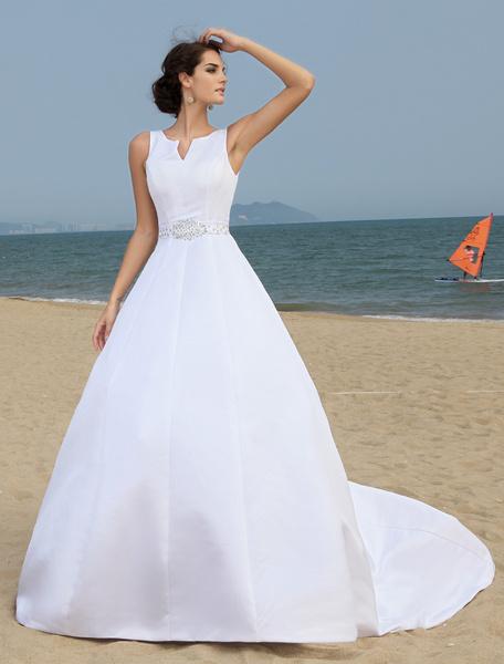 Milanoo Fashion A-line Satin Wedding Dress For Bride